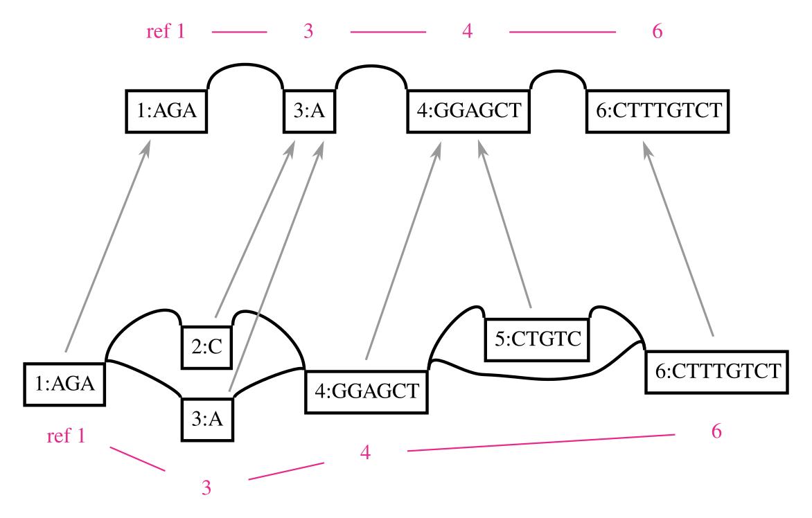 Surjection between variation graphs